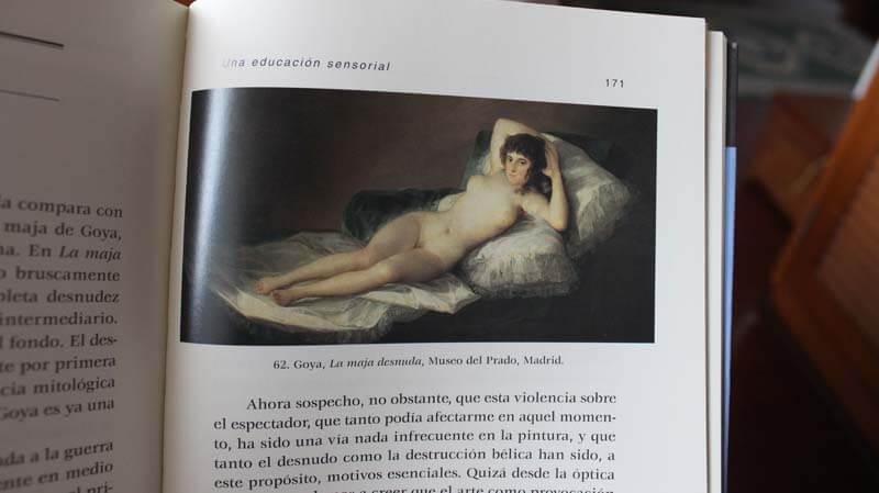 La maja desnuda en el libro Una educación sensorial