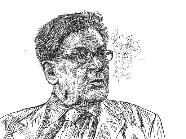 Ilustración del escritor José Emilio Pacheco