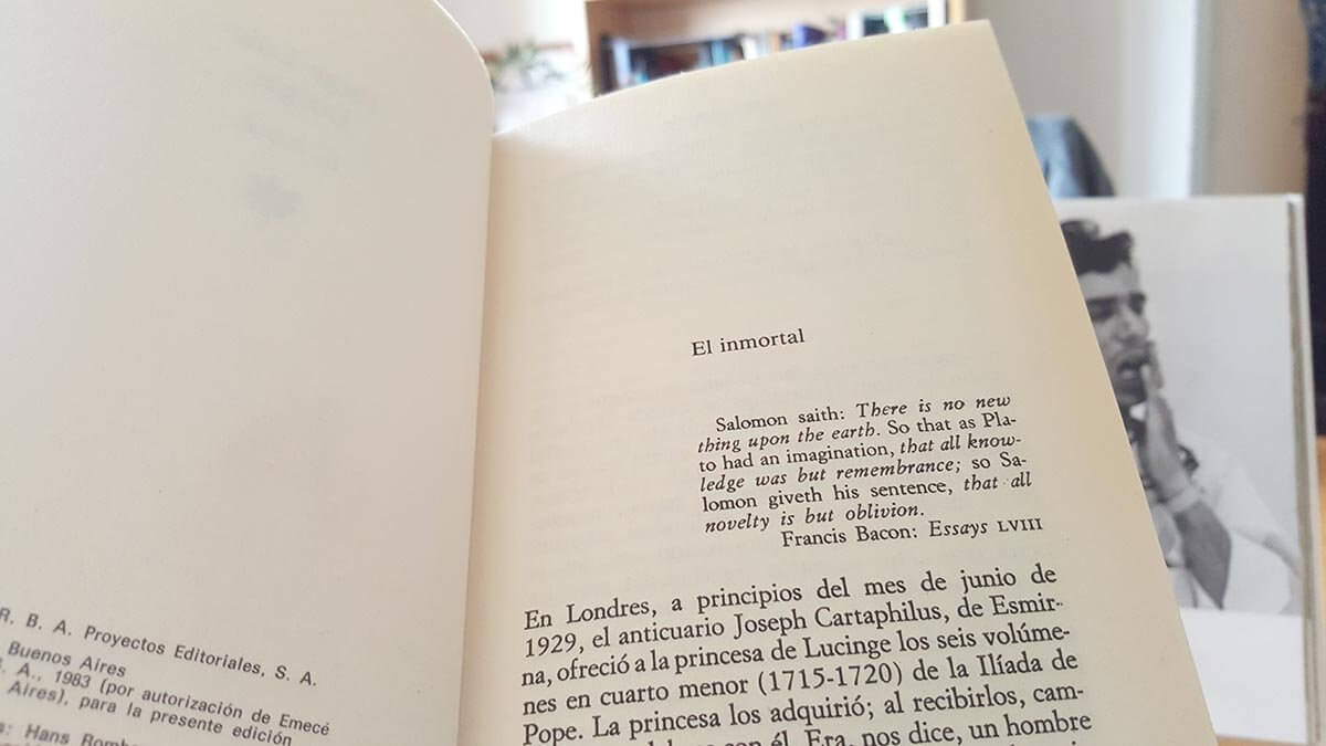 El Inmortal, un cuento de Borges. Reseña y comentarios sobre lo infinito y la identidad.