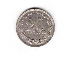 moneda de 20 centavos argentino de 1929