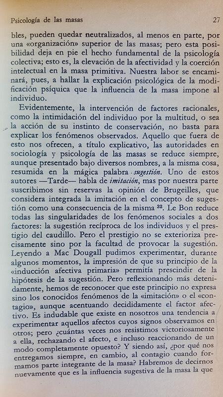 Página 27 del ensayo Psicología de las masas
